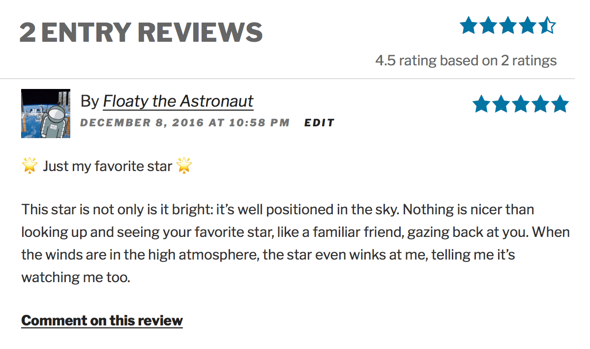 Screenshot showing star ratings & reviews of a Gravity Forms entry powered by GravityView