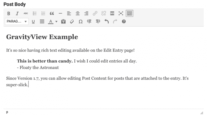 Gravity Forms edit post content from front of site