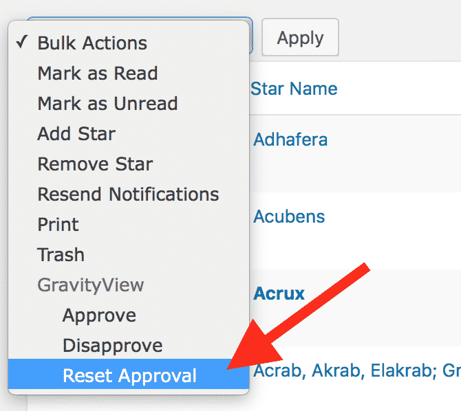 """There's a new """"Reset Approval"""" Bulk Action dropdown option"""