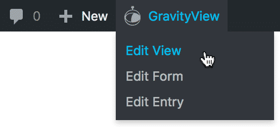Mouse hovering over the GravityView toolbar menu
