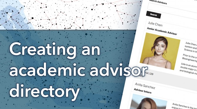 Creating an academic advisor directory