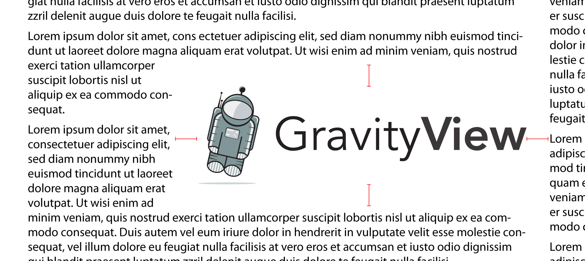 "The GravityView logo, embedded on a page with proper spacing (at least the width of the ""v"" in the logo)"