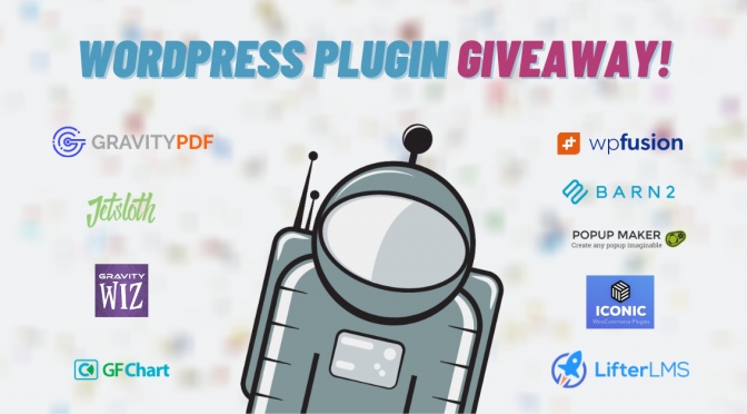 WordPress plugin giveaway! (Barn2, WP Fusion, Iconic, LifterLMS, Popup Maker, Gravity Perks, Gravity PDF, JetSloth, GFChart)