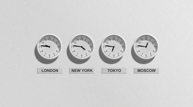 Clocks showing different timezones