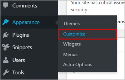The WordPress admin dashboard, highlighting the Customize link under Appearance