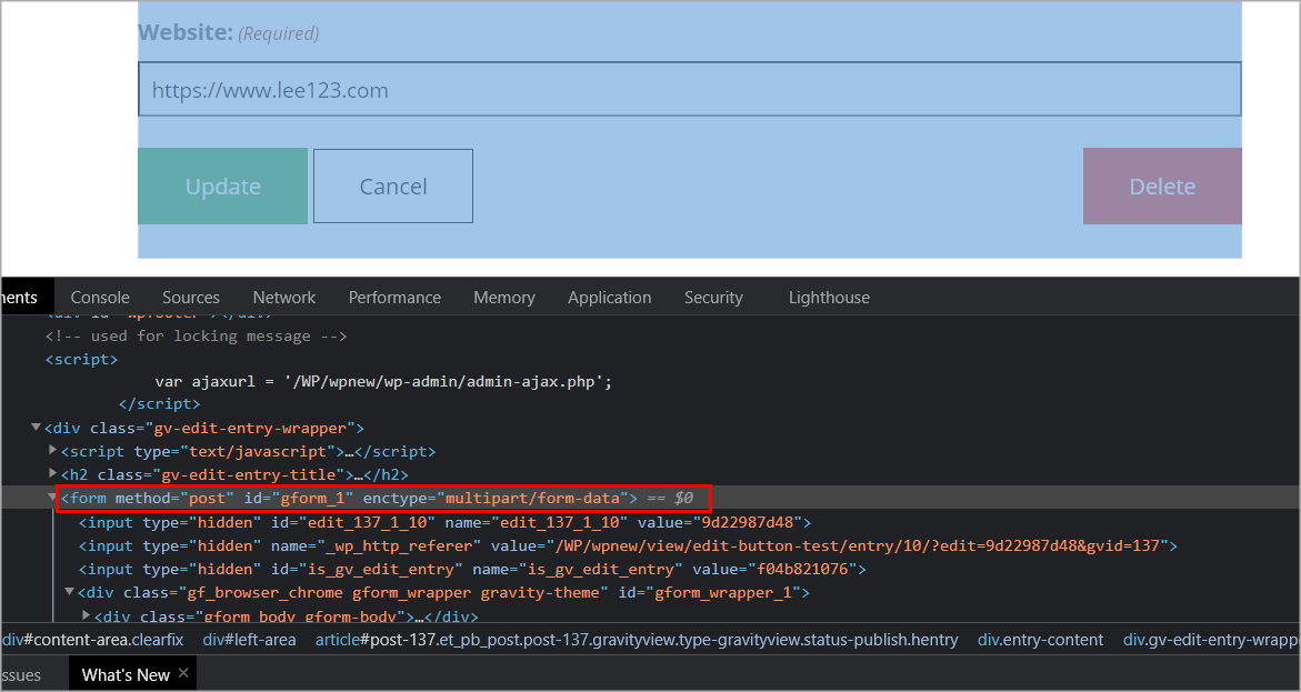 Browser developer tools open on the Edit Entry page with the HTML <form> element highlighted that wraps the Edit Entry form
