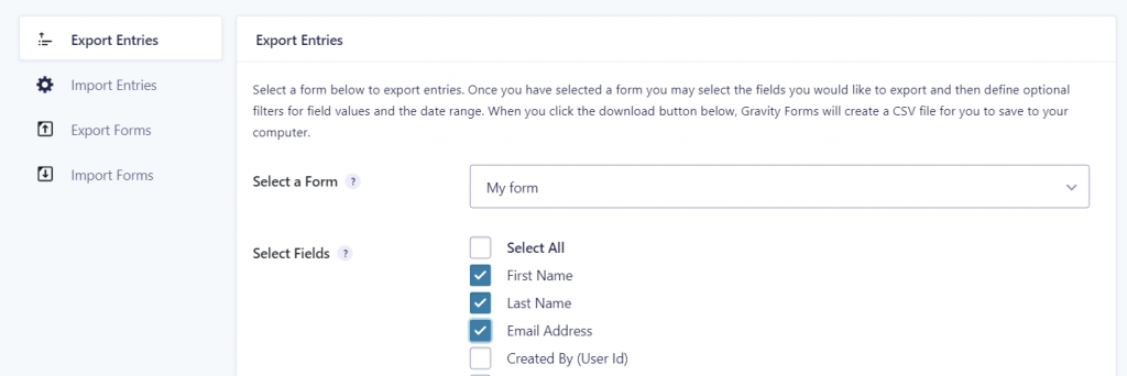 Gravity Forms Export Entries panel