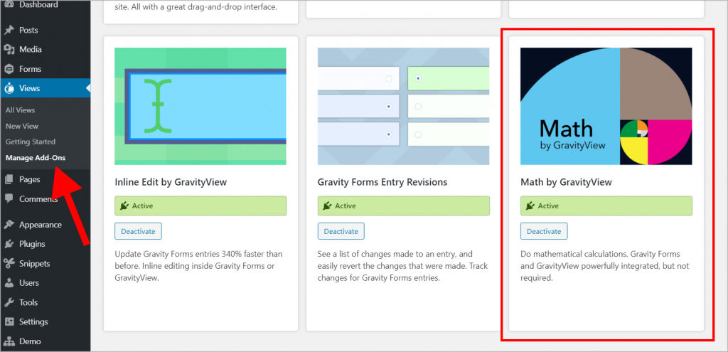 The GravityView manage add-ons screen inside the wordpress admin menu, with the Math by GravityView plugin highlighted