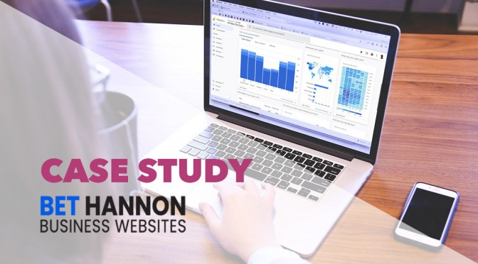 Person on a laptop with an overlay that says Case Study - Bet Hannon Business Websites