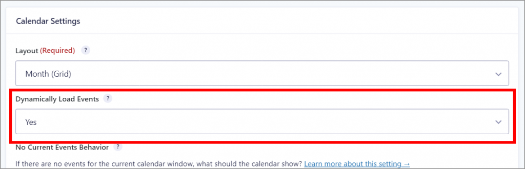"""The Gravity Forms Calendar Settings meta box, with the """"Dynamically Load Events"""" dropdown menu highlighted in red."""