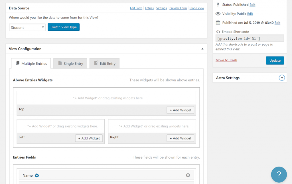 Screenshot of View Configuration when creating a Students View in GravityView