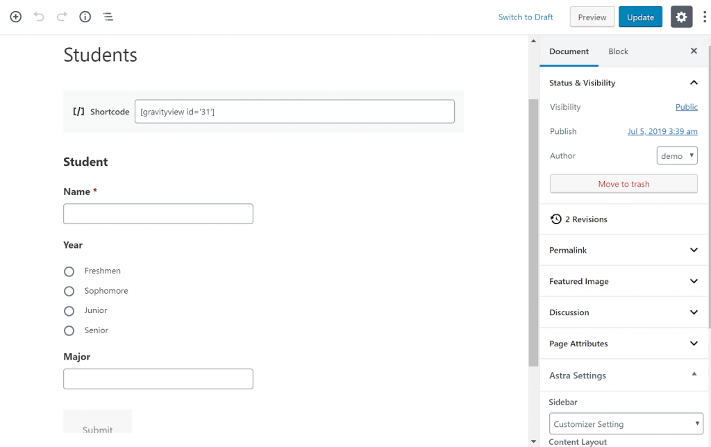Screenshot of embedding GravityView and Gravity Forms in a WordPress page.