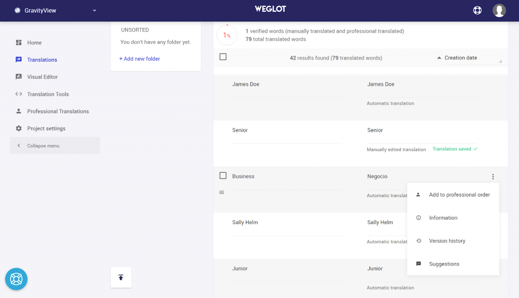 The translations refinement page in Weglot