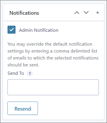 The Admin Notifications meta box on the edit entry page in Gravity Forms