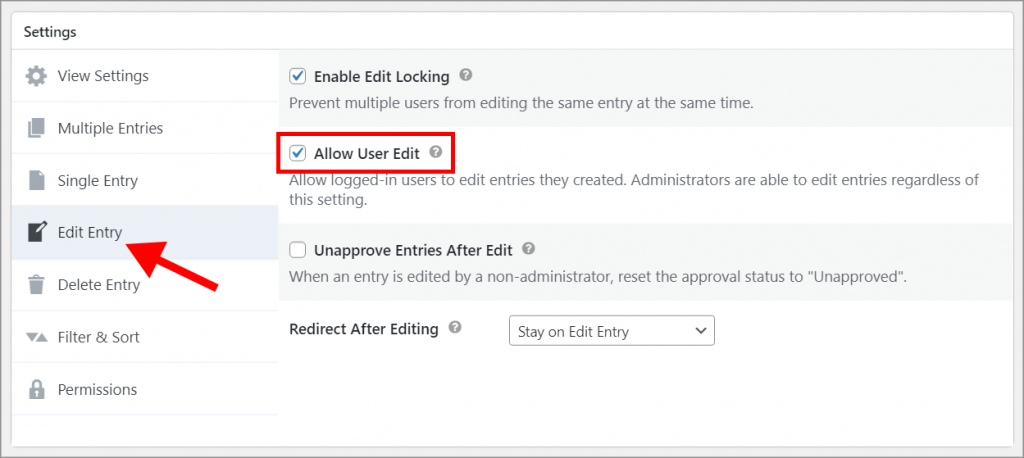 """The """"Allow User Edit"""" checkbox in the """"Edit Entry"""" Settings tab"""