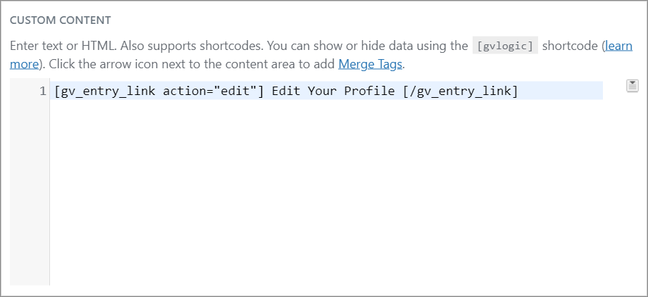 """The """"gv entry link"""" shortcode inside a GravityView Custom Content field"""