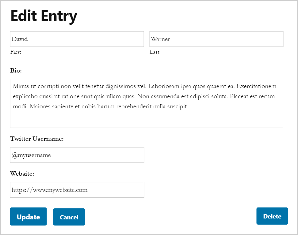 The Edit Entry layout on the front end, allowing users to edit submission fields