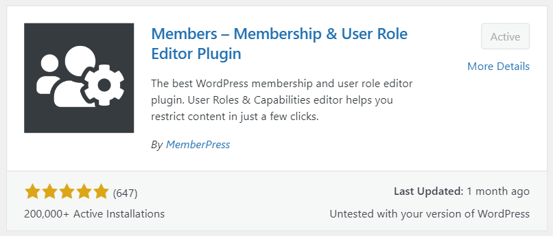 """The """"Members - Membership & User Role Editor"""" Plugin preview showing 200,000 active installations and a 5-star rating with 647 reviews"""