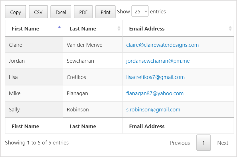 The GravityView DataTables Layout displaying three columns - First Name, Last Name and Email Address. There are also buttons at the top to export to PDF, EXCEL and CSV.