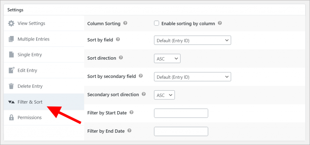 The GravityView Filter and Sort Settings panel