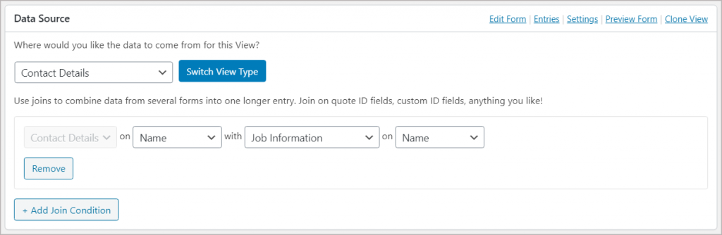 """The Data Source meta box showing one form called """"Contact Details"""" joined to another one called """"Job Information"""""""