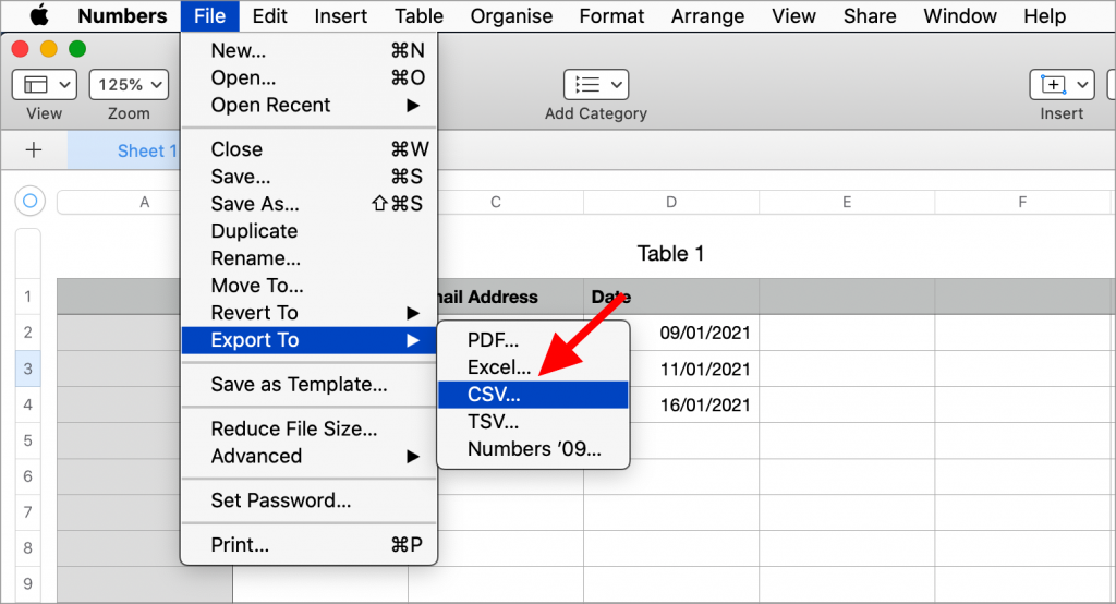 """Selecting """"File"""" and then """"Export To"""" and then """"CSV"""" in Apple Numbers"""