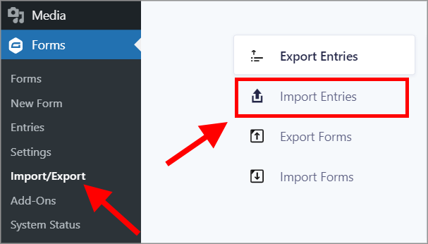 """Selectiong """"Forms"""" and then """"Import/Export"""" inside the WordPress admin menu"""