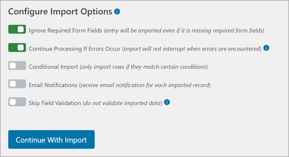 The Configure Import Options screen inside the Import Entries plugin