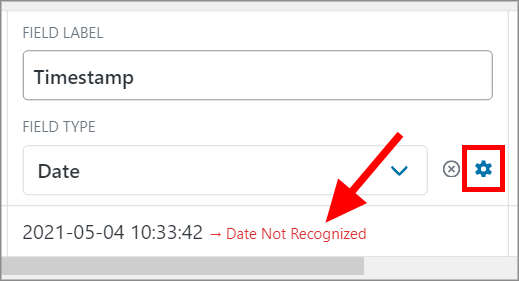 """An arrow pointing to a warning message that says """"Date Not Recognized"""""""