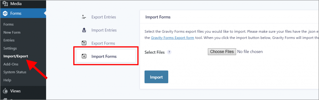 """The Gravity Forms success message saying """"Gravity Forms imported 1 form successfully. Edit Form."""""""