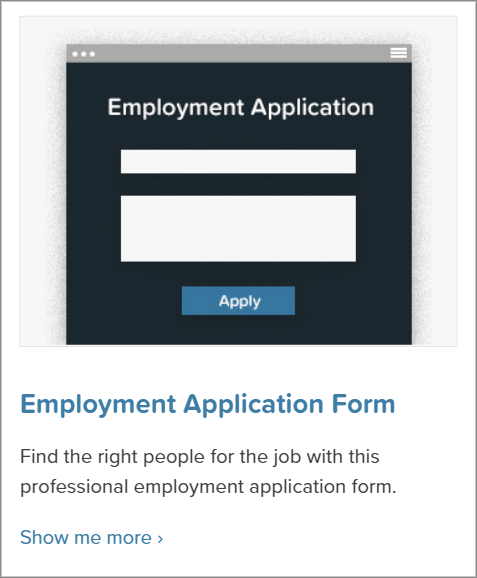 The Employment Application Form template from the Gravity Forms template library