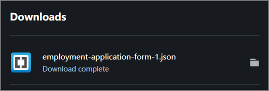 The Downloads list inside the browser showing the form template JSON file