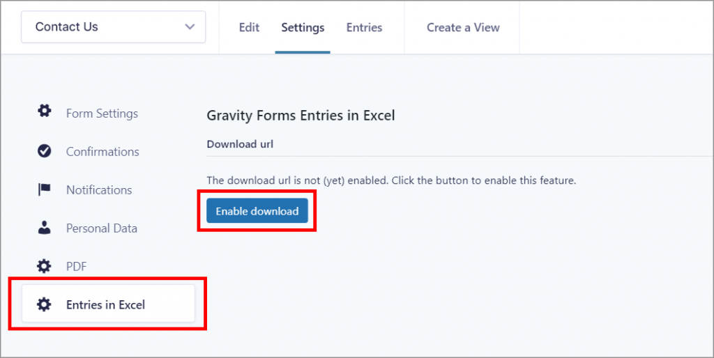 """The Gravity Forms Form Settings page showing the """"Entries in Excel"""" tab in the left"""