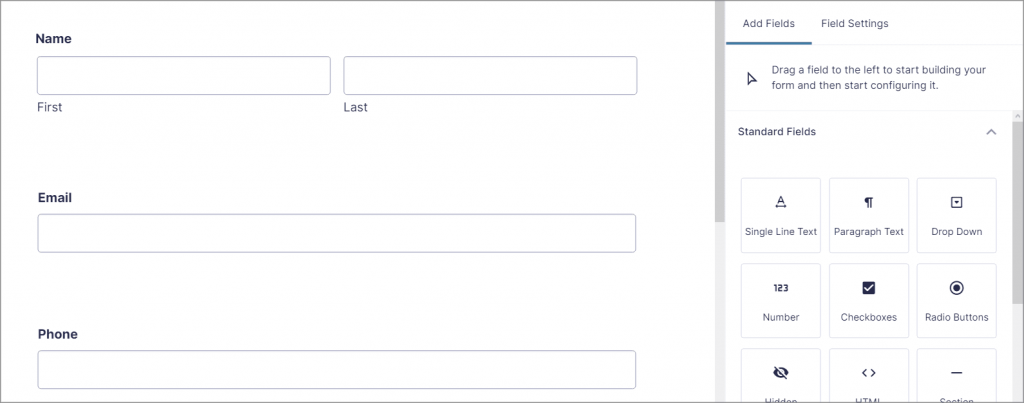 The Gravity Forms drag and drop form builder showing form fields on the right and the form preview on the left