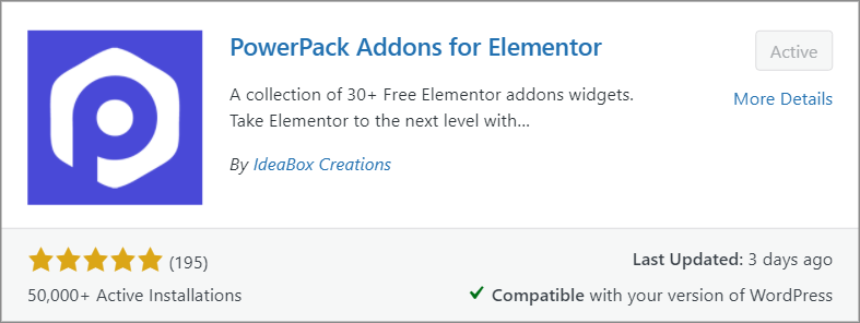 The PowerPack Addons for Elementor plugin preview