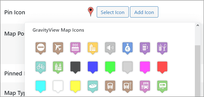 The different pin icon options