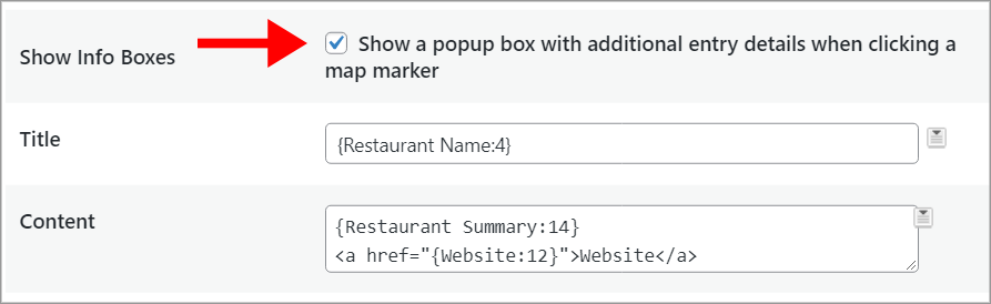"""An arrow pointing to a checkbox labeled """"Show a popup box with additional entry details when clicking a map marker"""""""