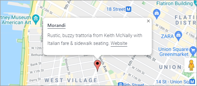 A popup box showing above a marker on a Google Map. The box contains the name of a restaurant and a description.