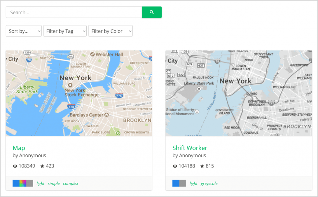 Two different Google Maps themes on the SnazzyMaps website