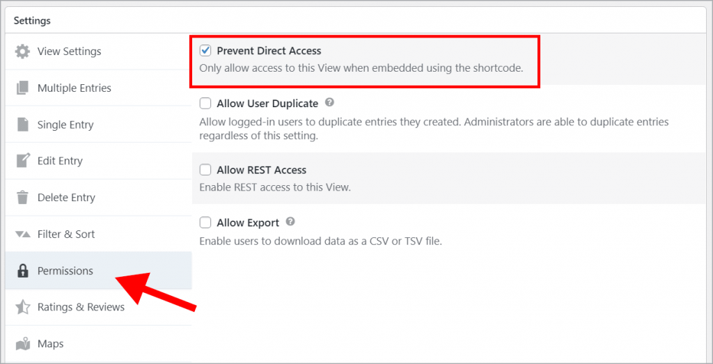 """The """"Prevent Direct Access checkbox on the """"Permissions"""" tab in the GravityView Settings box"""