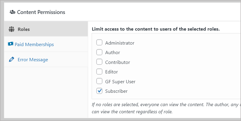 """The """"Content Permissions"""" meta box showing checkboxes to limit access to certain user roles"""