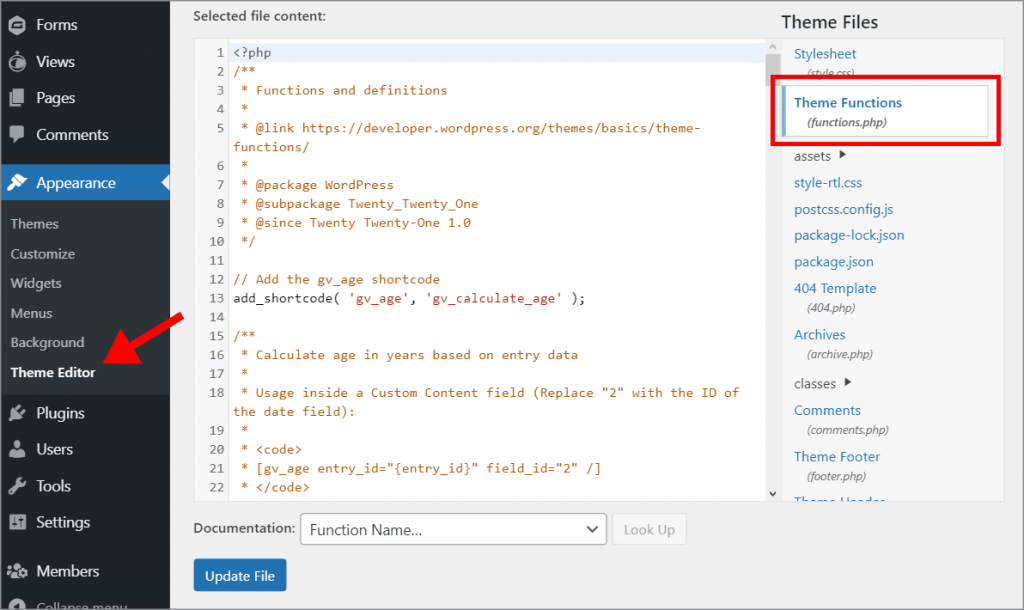 """The Theme Editor page with the """"Theme Functions (functions.php)"""" file highlighted in red"""