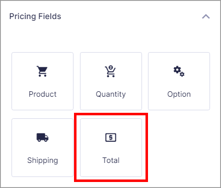 """The Gravity Forms """"Total"""" field under """"pricing Fields"""", allowing you to calculate the total price"""