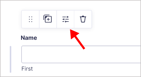 The Settings icon above a form field