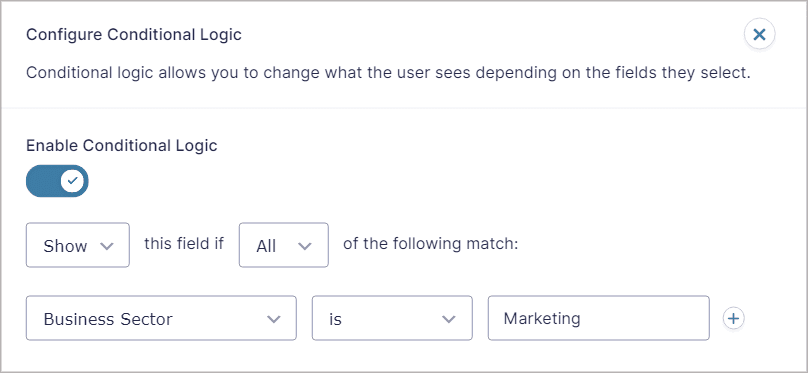 Conditional Logic Settings fly-out panel