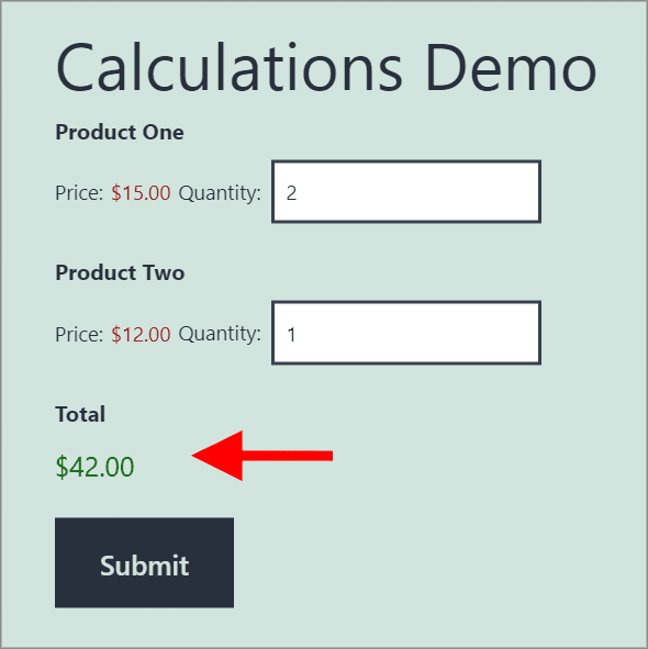 Product pricing form containing two Product fields and one Total field, displaying the total cost