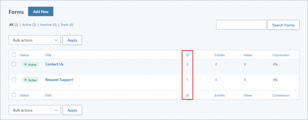 The Forms page in Gravity Forms with the ID column on the right