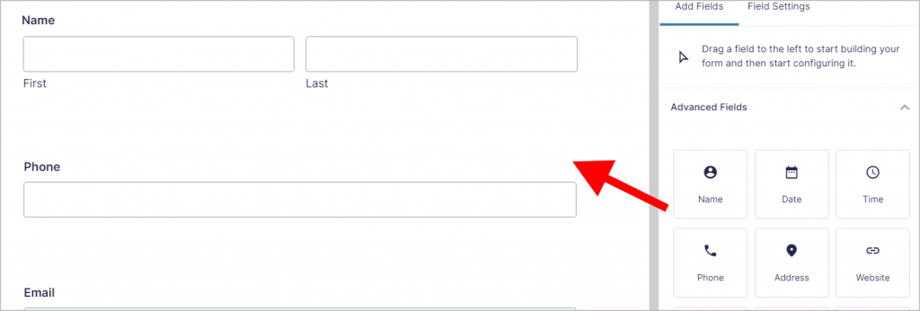 The Edit Form screen in Gravity Forms displaying the Advanced Fields