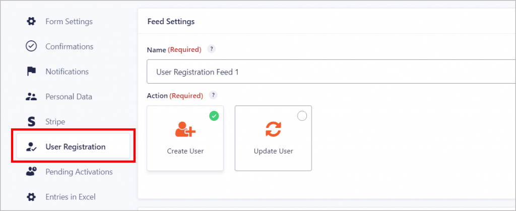 The User Registration feed in Gravity Forms