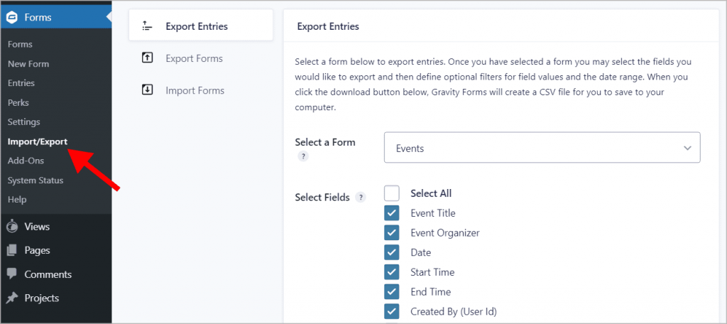 """The """"Import/Export"""" page under """"Forms"""" in WordPress"""